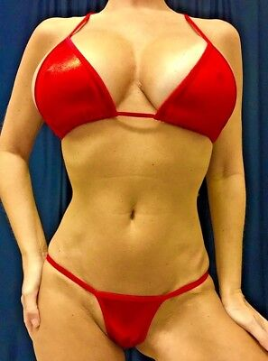 New Stripper Exotic Dancer Shiny Red Metallic Mystique A/b Top Y Back Thong Set