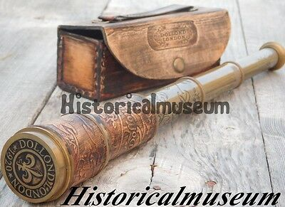 Nautical Marine Spyglass Handheld Brass Telescope Leather case~Vintage HSG5