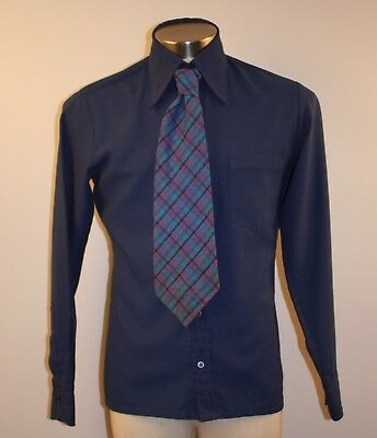 Medium Original Vintage Mens Blue Shirt & Tie. Swiss Fabric By Relehenbach