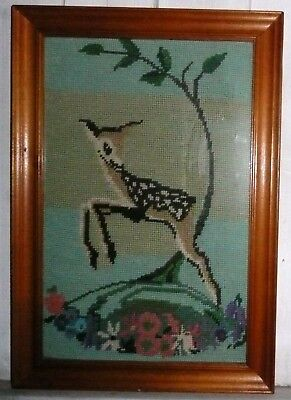 Vintage pine-framed tapestry / cross-stitch picture fawn Babycham / Bambi style
