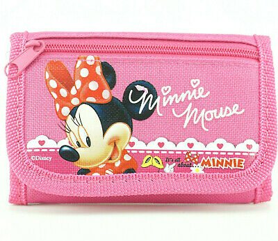 Minnie Mouse Kids Trifold Wallet for Girls Coin Purse Zip Pocket Photo Holder