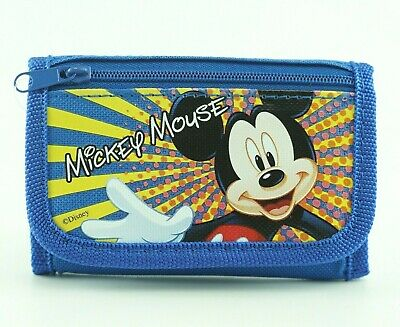 Mickey Mouse Kids Wallet for Boys Trifold with Zip Coin Purse Photo Holder