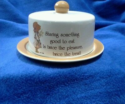 """Holly Hobbie """"Country Living"""" Brown/Cream Dome Lid & Plate-1981-Stoneware"""