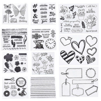Flower Heart Transparent Clear Silicone Stamp Seal DIY Scrapbooking Paper Crafts