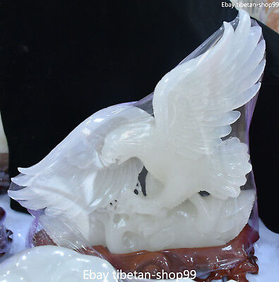 43CM Rare Chinese Pure Natural White Jade Fengshui Eagle Hawk King Birds Statue
