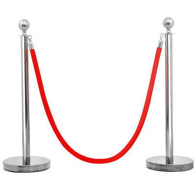 2PCs Silver Queue Barriers+2M Velvet Rope Crowd Control Bollards Stands Posts