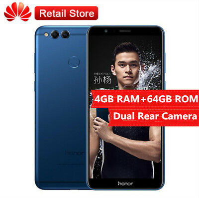 "5.93"" HUAWEI Honor 7X 4G 4+64GB Téléphone 8Core Dual Rear Camera 16MP Android7.0"