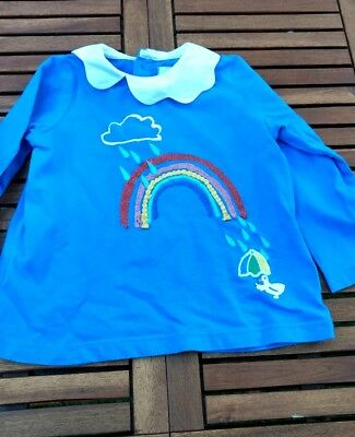 M&S blue cotton baby top with long sleeves - 1 to 1.5 years