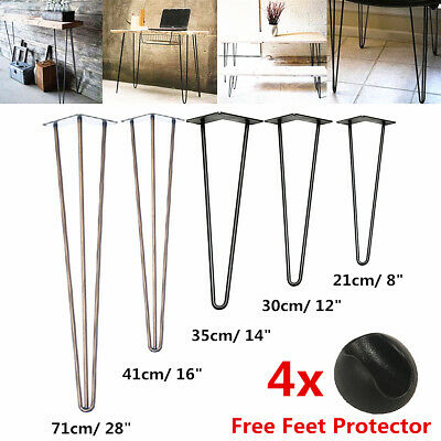 4x Premium 12mm Steel Hairpin Table Legs 3 Rod Desk Table Legs + FREE Protectors