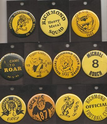 Richmond  Fc -Afl- Collectors Team Supporters / Cheer Squad  Metal Buttons  Rc2