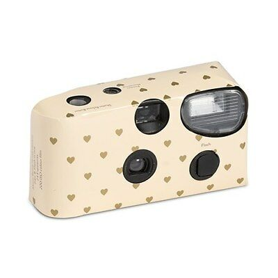 10 x Single Use Camera - Ivory And Gold Hearts Design- Wedding/ Party/ Function