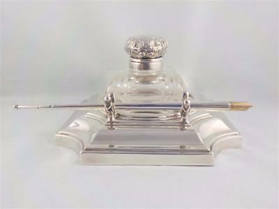 Sterling silver inkwell stand/Ink nib pen Hawksworth Eyre & Co Sheffield 1906 c