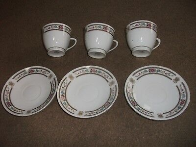 3 Chinese Cups & Saucers In Exc. Cond.-Unused-White With Floral Design-Lovely