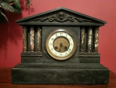 ANTIQUE FRENCH BLACK SLATE & MARBLE MANTLE CLOCK  1890s -  FREE POSTAGE