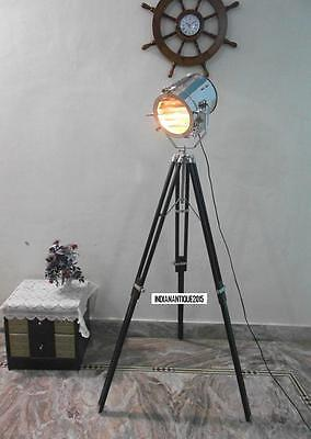 Antique Style Searchlight With Antique Tripod Stand Chrome Spotlight Floor lamp