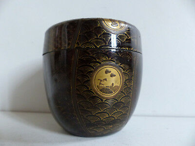 SUPERB ANTIQUE JAPANESE LACQUER on METAL TEA CADDY MAKIE NATSUME