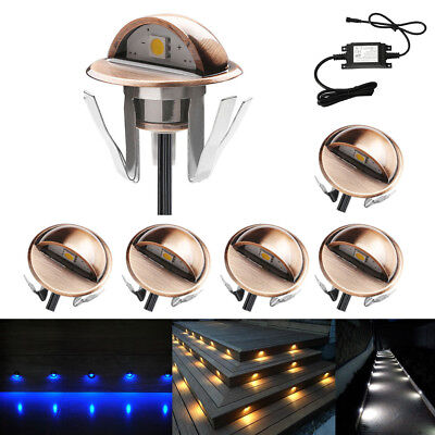 6pcs Φ35mm 12V Copper Ground LED Deck Step Lights Outdoor Garden Stair Path Lamp