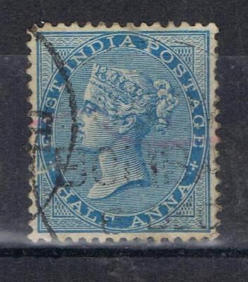 India 1865 Half Anna  blue SG 54 Used See note