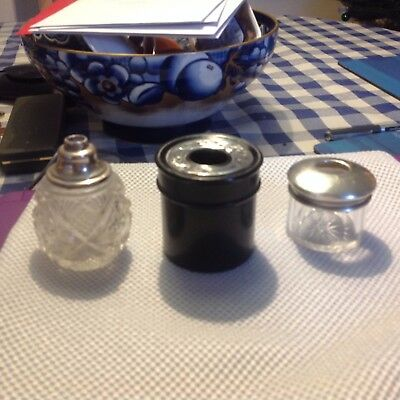 3 silver topped antique jars