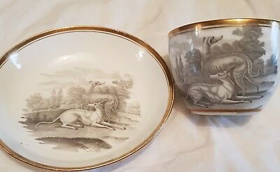 Early 19Th Century Cup And Saucer With Greyhounds
