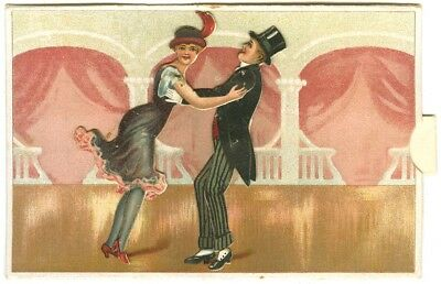 (2). Edwardian Mechanical Postcard (European). Moving dancers with pull tab.
