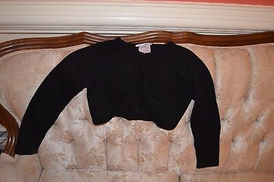 MINT Bonnie Jean Small Black Shrug Cardigan Sweater with flowers beads 7 8
