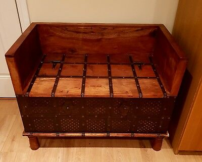 1930s VINTAGE/RETRO SOLID PITCH PINE WOOD STORAGE OTTOMAN SEATING CHEST