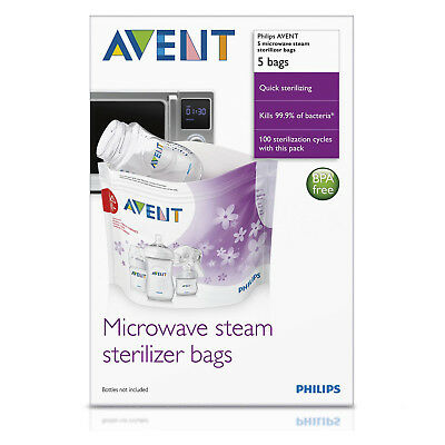 Philips AVENT Microwave Steam Steriliser Bag for bottles Pack of 5 - SCF297/05