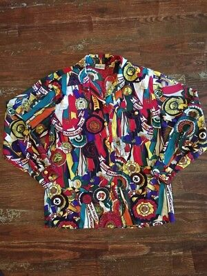 Vintage Betty Barclay Grand Prix Derby Horse Blouse Large Longsleeve Poly