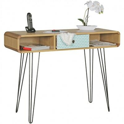 Console table 100 cm wood metal sideboard writing desk retro pattern drawer