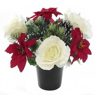 Small Artificial Christmas Grave Flowers Pot Poinsettia White Rose 24cm REDUCED