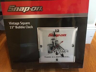 """Snap On Tools Limited Vintage Look Square 15"""" Bubble Clock Man Cave Fixture-MIB"""