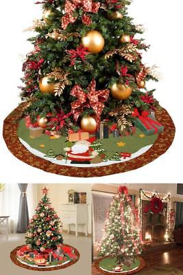 Christmas Tree Skirt 48-Inch Round Red Floral Rim Holiday Decorations Large NEW