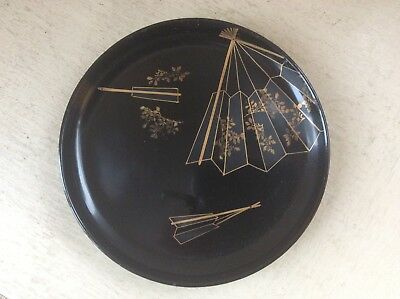 "6.75"" Antique Japanese Black & Gilt Lacquer Lacquered Dish Decorated with Fans"