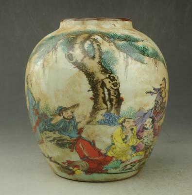 Chinese old hand-made porcelain famille rose Hand painted figure pot