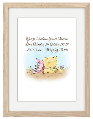 Personalised Winnie the Pooh Print Picture Baby Christening Nursery Gift Art
