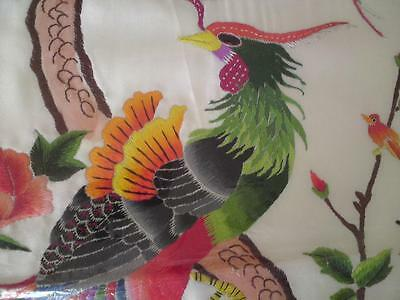 1950s Chinese silk textile embroidery exotic birds -peony pine tree (142cm long)