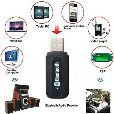 USB Wireless Bluetooth Music AUX Audio Receiver Adapter to Speaker 3.5mm Black