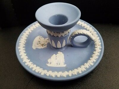 "Vintage Wedgwood Blue Jasperware Chamberstick Candle Holder 4.5""d 2""h"