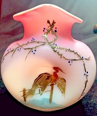 HARRACH BOHEMIAN Victorian Pink Satin Enameled Vase Bird Gold Highlights SALE