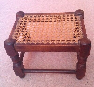 Lovely Antique Small Rattan Woven Top Oak Stool With Bobbin Hand Turned Legs