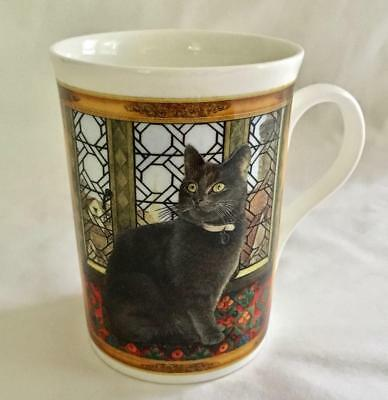 "Fine Bone China Cat Mug - Crown Trent - Made In England - 4"" - Seated Grey Kitty"