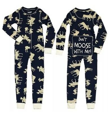 "Lazy One ""Don't Moose With Me"" One Piece Long John/Pajamas, Size 12"