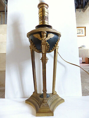 SUPERB & VERY LARGE ANTIQUE FRENCH EMPIRE BRONZE LAMP w 3 CHERUBS 1890's 7 1/10""