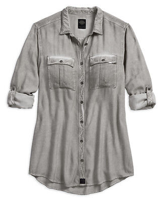 88aa8dda5880c1 Harley-Davidson Womens Slim Fit Roll-Tab Relaxed Fit Cold Dye Shirt 96195-