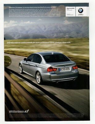 2009 BMW 335d Original Print AD - silver car photo, pull-out ad french canada