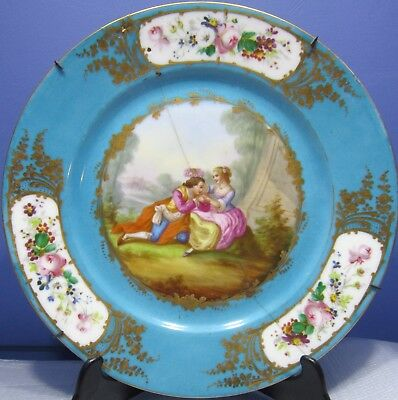 1800s FRENCH SEVRES PORCELAIN PLATE STAPLED. - LOVERS MEETING