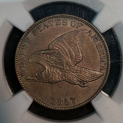 1857 Flying Eagle 1C NGC UNC DET