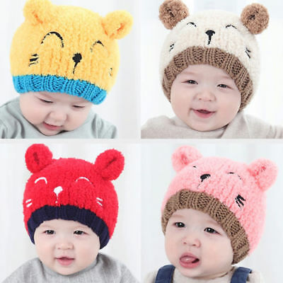 Cute Kids Baby Toddler Winter Warm Knit Bear Hat Crochet Beanie Cap