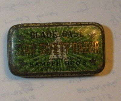 Vintage STAR RAZOR BLADE TIN Green Version